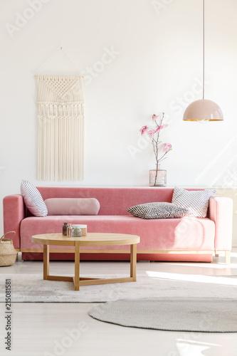 Fotografie, Obraz  Soft, warm living room interior with a cozy, velvet sofa, millennial pink decora