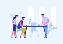 Vector Concept Of Creative Teamwork Building Bisiness Online In One Openspace. Sturtup Work.Meeting Business People. Discussion Of The Company's Business Strategy. Vector Illustration In A Flat Style