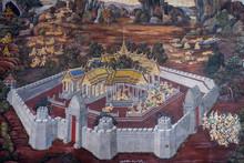 BANGKOK, THAILAND - June 3, 2018:Ancient Thai Mural Painting Of Ramakien Epic Inside Of Wat Phra Kaew In Bangkok, Thailand.Ramakien Is National Epic Of Thailand Derived From Hindu Ramayana Epic.
