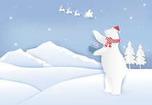 Santa And Polar Bear With Gift Boxes And Snow Paper Art Style. Paper Art, Paper Craft Background