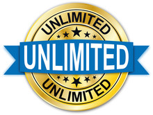 Red Unlimited Guarantee Round Golden Web Coin Medal Badge