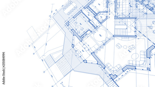 Photo Architecture design: blueprint plan - illustration of a plan modern residential