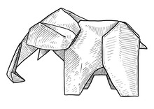 Elephant Origami Illustration, Drawing, Engraving, Ink, Line Art, Vector