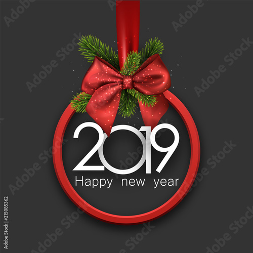 grey 2019 happy new year background with red round frame and bow