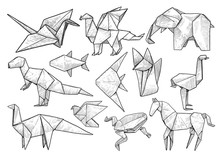 Animal Origami Collection, Illustration, Drawing, Engraving, Ink, Line Art, Vector