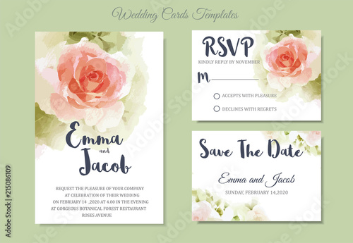 Fototapeta Vintage Style Wedding Invitation Pink Rose Watercolor Hand Drawn Save The Date Card Design Vector Template Set Invite Card Design Greeting