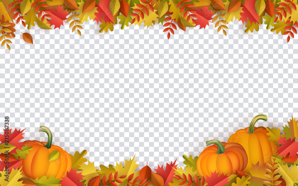 Fototapeta Autumn leaves and pumpkins border frame with space text on transparent background. Seasonal floral maple oak tree orange leaves with gourds for thanksgiving holiday, harvest decoration vector design.