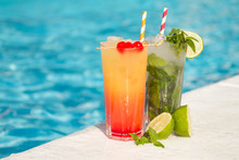 Tropical Cocktail On A Pool Ba...