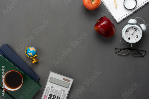 Fotografie, Obraz  Table top view aerial image of decorations education for back to school mock up background concept