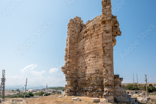 Foto op Aluminium Oude gebouw Exterior view of Great Basilica at Aya Tekla underground cave Church also known as Saint Aya Thecla or Aya Thekla, is ruined historic church located in Silifke,Mersin,Turkey.
