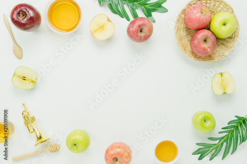 Table Top View Aerial Image Of Decorations Jewish Holiday Rosh Hashana Banner Background ConceptFlat