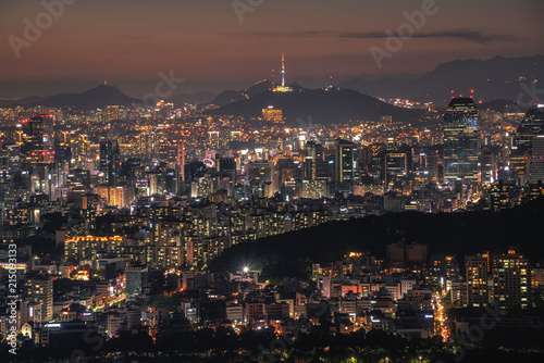 Foto op Plexiglas Seoel Seoul city skyline and seoul tower at night in Korea.