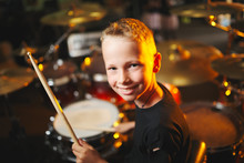 Boy Plays Drums In Recording S...