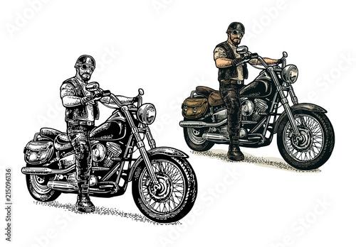 Biker riding a motorcycle. Vector engraved illustration Tapéta, Fotótapéta