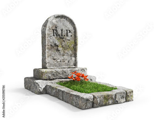 Cuadros en Lienzo Stone grave with grass isolated on a white background