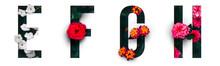 Flower Font Alphabet E, F, G, ...