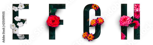 Flower font Alphabet e, f, g, h, made of Real alive flowers with Precious paper cut shape of letter. Collection of brilliant flora font for your unique decoration in spring, summer & many concept idea - 215099505