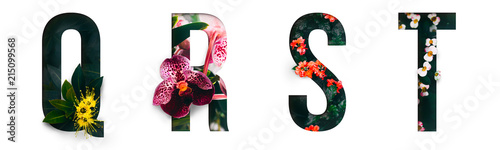 Foto op Aluminium Bloemen Flower font Alphabet q, r, s, t, made of Real alive flowers with Precious paper cut shape of letter. Collection of brilliant flora font for your unique decoration in spring, summer & many concept idea