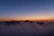 雲湧く夕景と剣岳