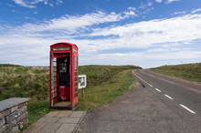 Lonely Red Phone Booth Telephone Box In Scotland UK