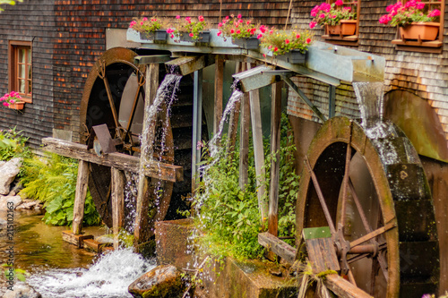 Foto auf AluDibond Blumenhändler FURTWANGEN, GERMANY - JULY 16 2018: Hexenlochmühle Water Wheel in the Black Forest