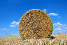 Round Bale Of Straw On A Field...