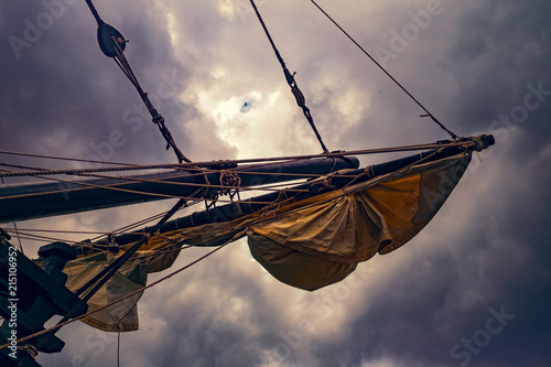Photo Stands Ship Sails on an old sailing ship