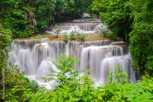 Staande foto Bleke violet Beautiful waterfall in deep forest, Huay Mae Kamin Waterfall in Kanchanaburi Province, Thailand