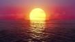 Seamlessly looped flight over ocean at fantasy sunset.