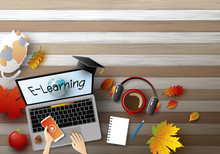 E-learning Concept Design Of Young Woman Using Laptop Computer With Autumn Leaves On Wood Background Vector Illustration