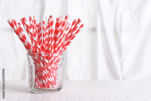 Recyclable Red Drinking Straws in a glass