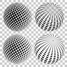 Set Of 3D Halftone Dots Sphere...