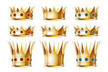 Set Of Golden Crowns For King