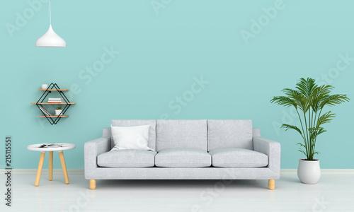 gray sofa and lamp in living room for mockup, 3D rendering Fototapet