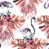 Flamingo pattern. Summer watercolor background. - 215121387