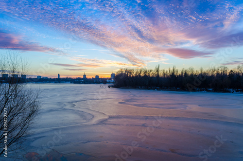 Wall Murals Blue Colorful sunset