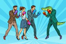 People Boxing A Reptilian Croc...