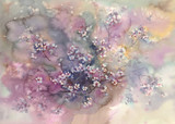 Sakura w rozkwicie tle akwarela - 215122765