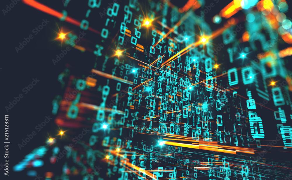 Fototapeta Fondo de informática y programación. Codigo binario y redes.Diseño abstracto de tecnología y datos en internet