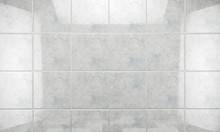 Fondo De Baldosas Limpias Y Brillantes Blancas En El Baño.Concepto De Limpieza E Higiene En El Hogar.