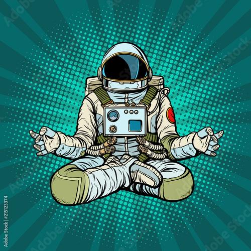 Fotografia yoga astronaut Lotus pose. Meditation and spiritual practice