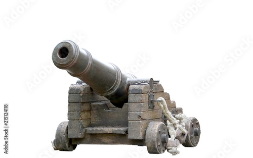 Spanish colonial cannon replica isolated on a white background Fotobehang