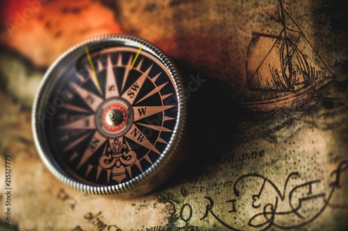 Closeup of an Old Compass on an Old Map Wallpaper Mural