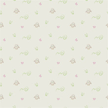 Cute Bright Background With Green Spirals, Owls And Pink Flowers Vector Seamless Pattern.