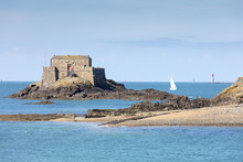 The Fort Du Petit Be And Sailing Boat, St. Malo, Ille Et Vilaine, Brittany, France