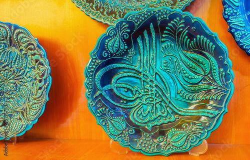 Poster Turkije Souvenir plate with Ottoman tughra, Antalya, Turkey