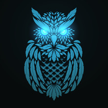 Abstract Hand Drawn Owl In Zentangle Ethnic Style. Ornamental Tribal Vector Illustration.