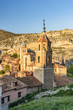Santiago church and Cathedral in the background, Albarracin, Aragon, Spain