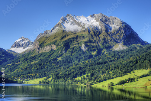 Lake W__gital with Fluebrig mountain in the Glarner Alps at fall, Innerthal, Schwyz, Switzerland
