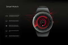 Concept Of Smart Watches, Red ...